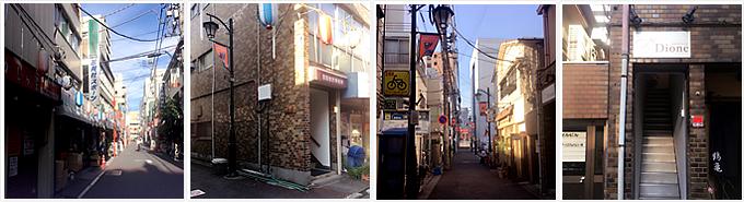 三晃社、エンゼルビル最終角、Dione看板