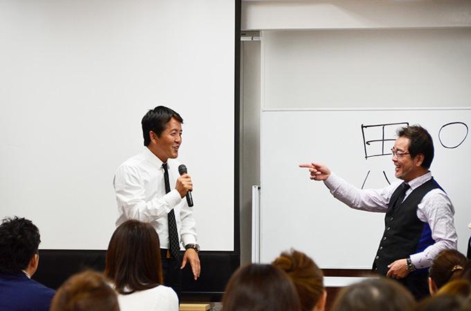 セミナー内での鉄穴代表と岡井代表の対談風景